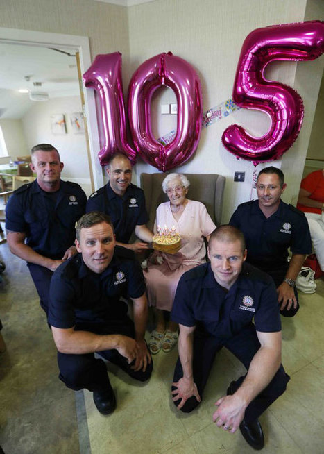 105-Year-Old's Birthday Wish for a Cake Delivered by a Hunky Firefighter Comes True | Le It e Amo ✪ | Scoop.it