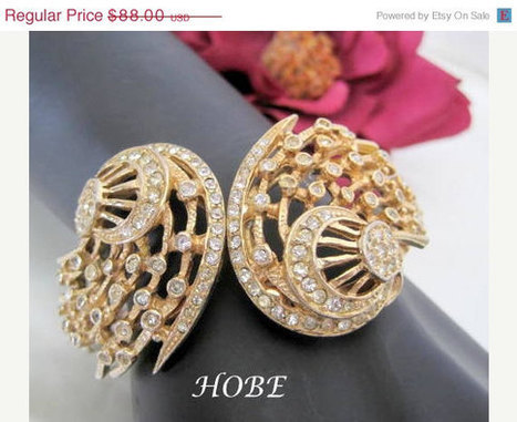 Hobe Rhinestone Bracelet Gold Tone Clamper | Vintage Jewelry and Fashions | Scoop.it