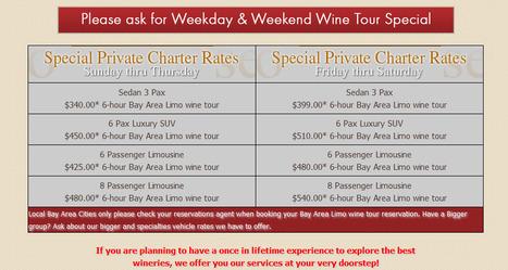 Bay Area Limousine price list ( Special Wine Tour packages) | Bay Area Limo Wine Tour Service | Scoop.it