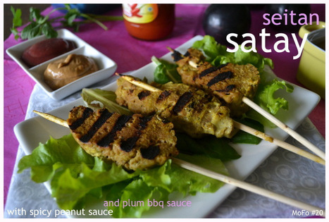 Vegan MoFo 20: Seitan Satay with Spicy Peanut Sauce and Plum BBQ Sauce | My Vegan recipes | Scoop.it