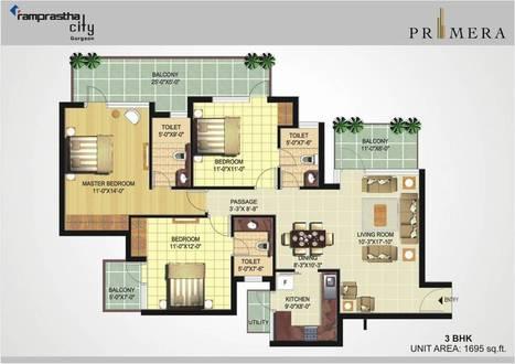 Ramprastha Primera, 3 BHK - 1695 sq.ft (Floor Plan) | Ramprastha Primera, Sector 37D, Gurgaon II Subvention Scheme | Scoop.it