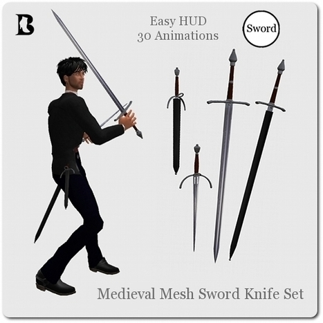 Medieval Mesh Sword Knife Set with Animations HUD by Vlad Blackburn | Teleport Hub - Second Life Freebies | Second Life Freebies | Scoop.it