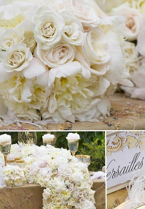 Royal Wedding inspiration tabletop ~ Opulent Gold and White | San Diego Wedding Blog | Flowers for all occasions | Scoop.it
