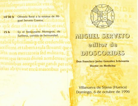 06-10-1996-Programme of the Homage for Servetus , Michael Servetus Institute & Gonzalez Echeverria. New work by Servetus | Michael Servetus. Discovered  new works and true Identity. Proofs, lectures and International Congresses. | Scoop.it