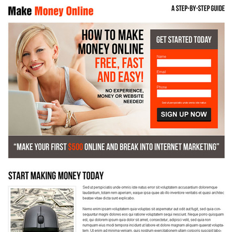converting lead capture responsive landing page design for make money online business | buy landing page design | Scoop.it