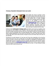 Choosing a Reputable Indianapolis Home Loan Lender | Business | Scoop.it