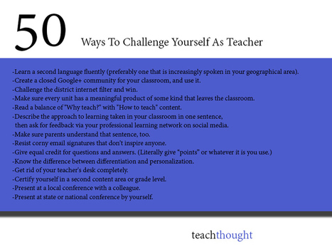 50 ways to challenge yourself as Teacher | LOS MEJORES HALLAZGOS DE DANIELA AYALA | Scoop.it