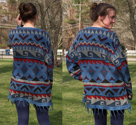 Vintage Navajo Southwestern 80's Sweater Indian Blanket Oversized Cardigan Native Ethnic Aztec Geometric Jumper | Vintage Jewelry and Fashions | Scoop.it
