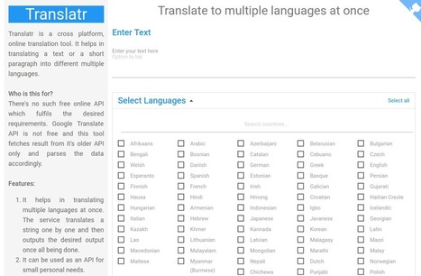 Translatr, página web para traducir un texto a múltiples idiomas de una sola vez | Technology and language learning | Scoop.it