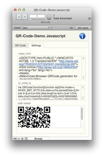 No Internet Connection, Can't use Plugins, Need QR Codes? —Create QR Codes in FileMaker Pro using only Javascript   FileMaker Development   Scoop.it