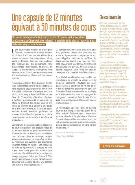 Une capsule de 12 minutes équivaut à 50 minutes de cours - Classe inversée -CECS La Garenne - Vidéo d'illustration de Baudry Ceulemans   Apprendre en ligne : #mooc #Elearning #spoc #   Scoop.it