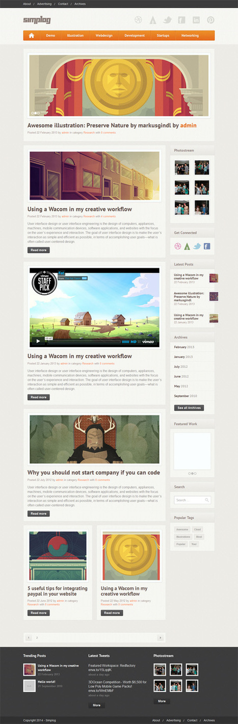 Simplog, Premium WordPress Responsive Blog Magazine Theme | WP Download | smokeris | Scoop.it