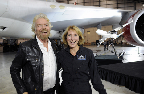 """Richard Branson unveils his rocket's new """"mothership,"""" a 747 he calls """"Cosmic Girl."""" 