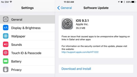 Apple releases iOS 9.3.1 for iPhone and iPad, addresses crashing bugs when tapping links | Macwidgets..some mac news clips | Scoop.it