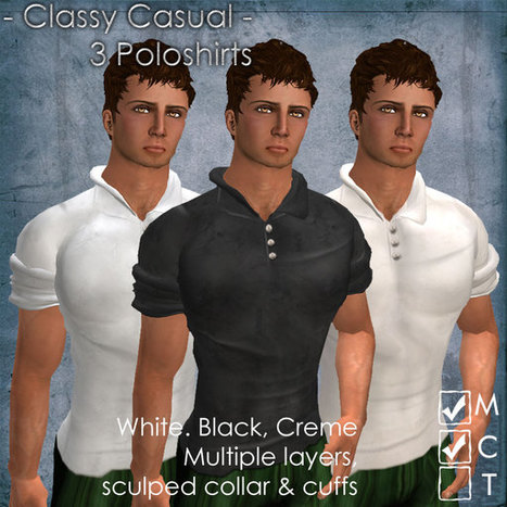 Classy Casual Polo T-Shirts Pack of 3 by artMEfashion | Teleport Hub | Second Life Freebies | Scoop.it