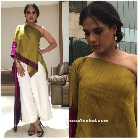 Richa Chadha in Ethnic One Shoulder outfit by Payal Khandwala | Indian Fashion Updates | Scoop.it