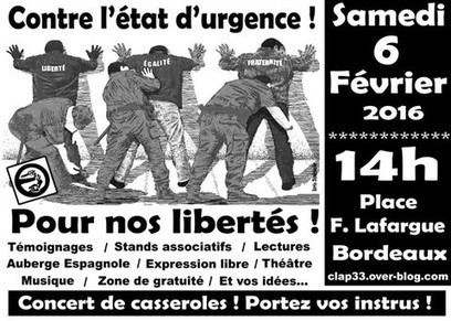 [Bordeaux - 6 février] Mobilisation - Contre l'état d'urgence ! Pour nos libertés ! | décroissance | Scoop.it