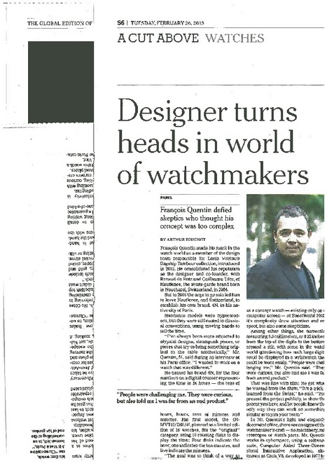 Designer turns heads in world of watchmakers | FashionLab | Scoop.it