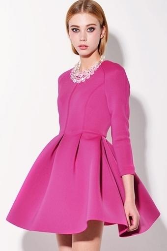3/4 Sleeve Pleated A-line Dress - OASAP.com | Online Fashion | Scoop.it