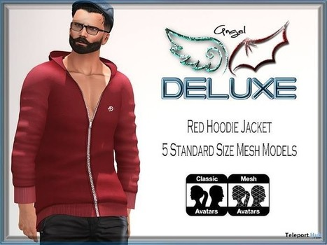 Red Hoodie Jacket For Men June 2016 Group Gift by Angel DELUXE | Teleport Hub - Second Life Freebies | Second Life Freebies | Scoop.it