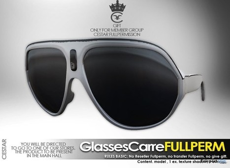 Carre Glasses Full Perm Group Gift by Cestar Store | Teleport Hub - Second Life Freebies | Second Life Freebies | Scoop.it