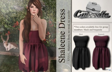 Shaleene Dress Black and Burgundy Group Gift by Caboodle | Teleport Hub - Second Life Freebies | Second Life Freebies | Scoop.it