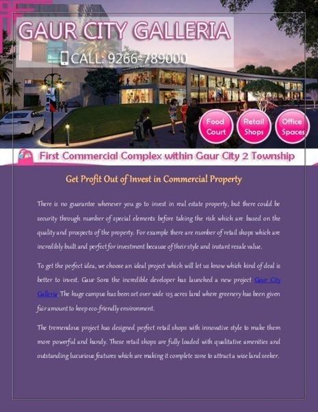 Buy Modern Retail Shops at Gaur City Galleria | Gaur City Galleria | Scoop.it