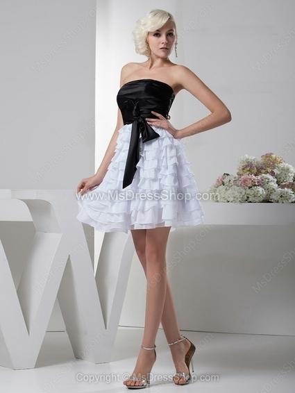 A-line Strapless Chiffon Satin Short/Mini Ruffles Cocktail Dresses | Cocktail dresses online | Scoop.it