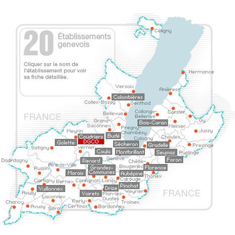 Exemple « d'Image Map » et de « jump menu » avec une carte des EP du canton de Genève. Site porté par #SPIP | SPIP - cms, javascripts et copyleft | Scoop.it