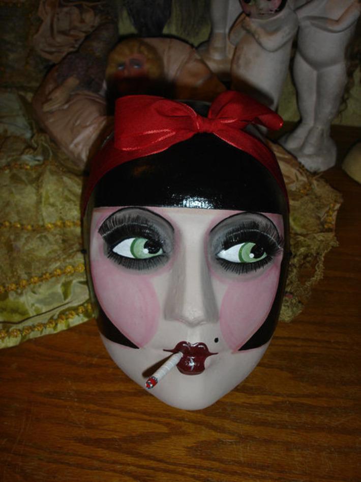 Halloween Masquerade Mask Vintage Style Black Haired Smoking Flapper | For Art's Sake-1 | Scoop.it