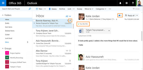 Outlook on the web borrows Facebook's Like and Twitter's @mention | iPhones and iThings | Scoop.it