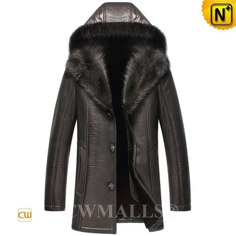 CWMALLS® Hood Fur Shearling Coat Embossed CW836057 | Fur Lined Mens Coat | Scoop.it