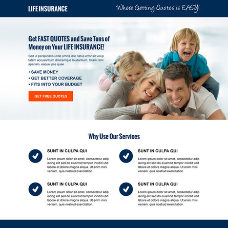 money saving life insurance free quote cta and lead capture responsive landing page design template | best landing page design | Scoop.it