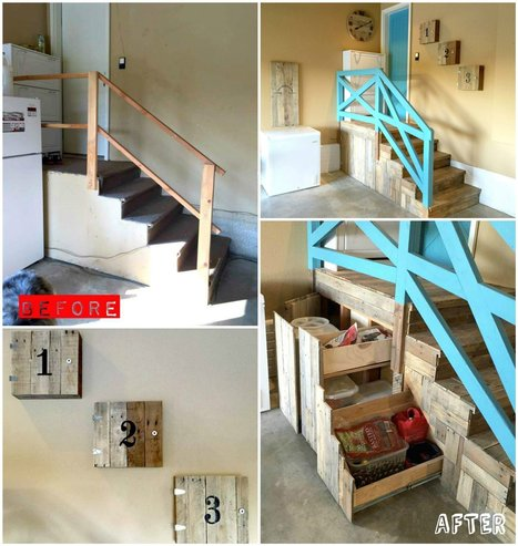 Garage Stairs Makeover With Pallets | Upcycled Objects | Scoop.it