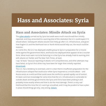Hass and Associates: Missile Attack on Syria | Hass Associates | Scoop.it