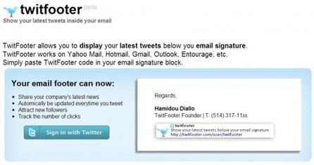 Ajouter son dernier Tweet à sa signature mail, Twitfooter   Ballajack   Outils pour les réseaux sociaux   Scoop.it