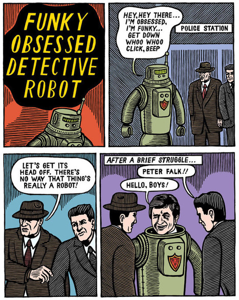 Fantagraphics Books   Comics and Graphic Novels - Up All Night by Michael Kupperman - Funky Obsessive Detective Robot   The Robot Times   Scoop.it