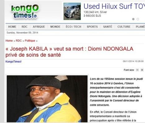 « Joseph KABILA » veut sa mort : DIOMI NDONGALA privé de soins de santé /KONGOTIMES | EUGENE DIOMI NDONGALA, PRISONNIER POLITIQUE EN RDC | Scoop.it