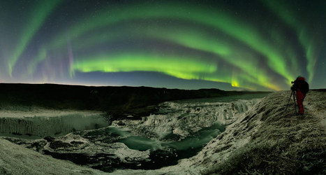 Aurores et comète en Islande à Gulfoss - L'image d'astronomie du jour - APOD | Grand Bleu | Scoop.it
