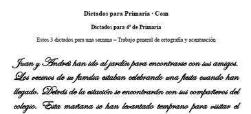Dictados para Primaria 4º curso – Trabajo general semanal | Aprender a leer y escribir | Scoop.it
