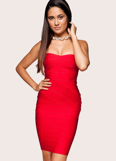 Herve Leger Red Strapless Signature Bandage Dress | Sexy | Scoop.it
