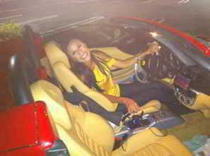Stephane Marchand's pretty wife Nicole in Red Ferrari | Stephane Marchand Famous Lyricist And Writer | Scoop.it