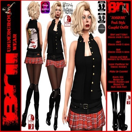 Josiana Punk Style Complete Outfit - NessMarket | 亗 Second Life Freebies Addiction & More 亗 | Scoop.it