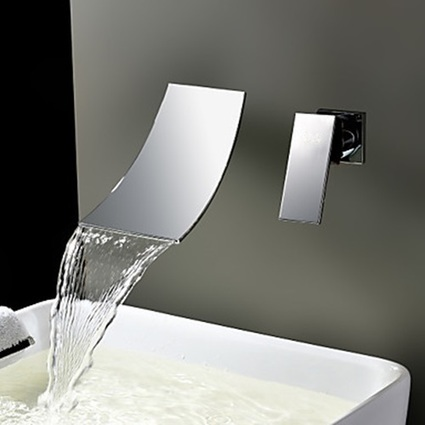 Chrome Finish Waterfall Widespread Contemporary Bathroom Sink Faucet - Faucetsmall.com | Bathroom Sink Faucets or Kitchen Faucets | Scoop.it