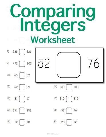 Comparing Integers Worksheet | Math Worksheets and Flash Cards | Scoop.it
