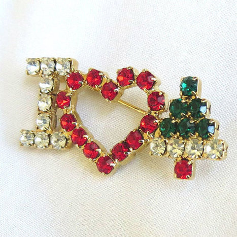 Vintage Red, Green & Clear Rhinestones I Heart Christmas with Heart and Tree Brooch or Pin   Favorite Vintage Jewelry   Scoop.it