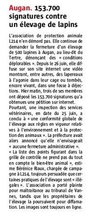 153 700 signatures contre un élevage de lapins / Le Télégramme   Lapins - Revue de presse L214   Scoop.it