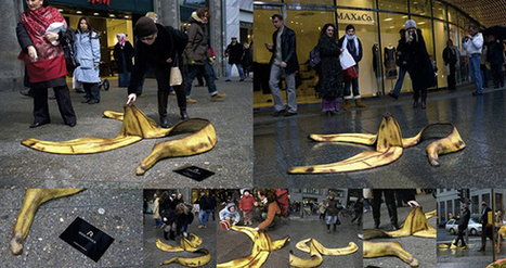 Des énormes peaux de bananes pour promouvoir une marque de verres progressifs ! | streetmarketing | Scoop.it