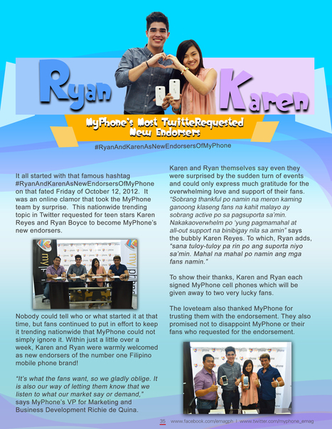 MyPhone's Most TwitteRequested New Endorsers (Ryan Boyce and Karen Reyes) | MyPhone E-Mag | Scoop.it