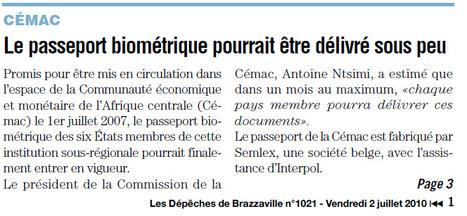 Archives des Dépêches de Brazzaville: le passeport biométrique de la Cémac introduit par Semlex | Semlex Europe | Scoop.it